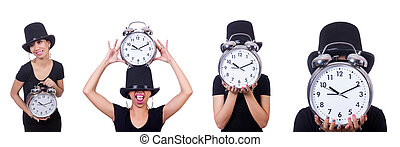 Young woman with clock isolated on white