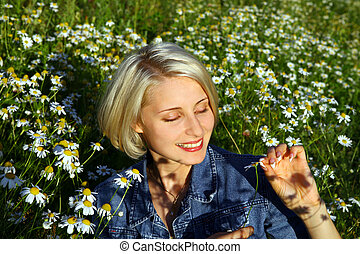 Young Woman With daisy