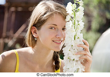 woman with  delphinium
