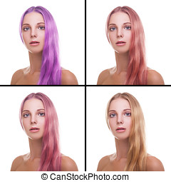 Young woman with different colors of hair