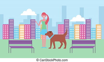 young woman with dog character