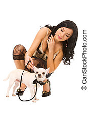 woman with doggy - young woman with doggy on a white...