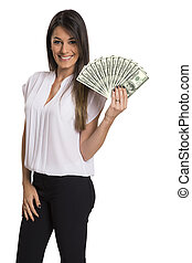 Young woman with dollar money in her hands, isolated on white background