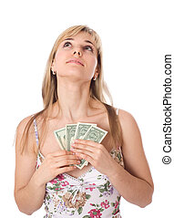 Young woman with dollars looking up wards