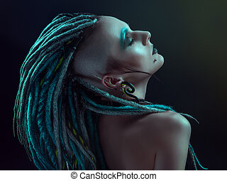 Young woman with dreadlocks - Pretty girl with dreadlocks...