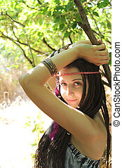 Young woman with dreads portrait, outdoor