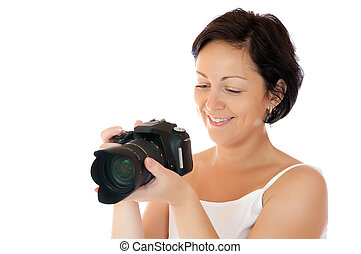 Young woman with DSLR