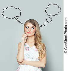 Young woman with empty speech cloud bubble