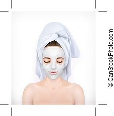 Young woman with face mask