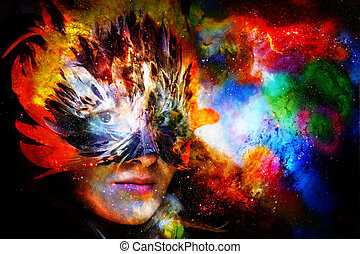 Young woman with feather carnival face mask. Goddess woman goddess in cosmic space.