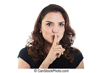 young woman with finger to lips