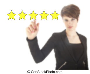 Young woman with five stars isolated on white background