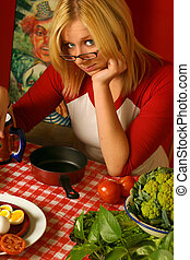 young woman with food