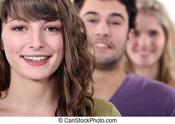 Young woman with friends