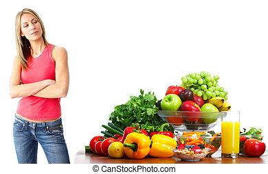 Young woman with fruits and vegetables. - Young smiling...