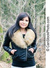 young woman with fur jacket II