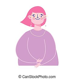 young woman with glasses character female mature isolated design