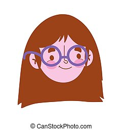 young woman with glasses face character, isolated icon white background