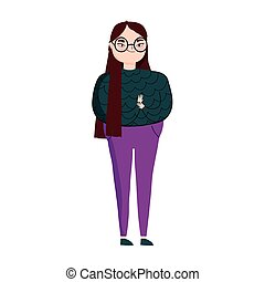 young woman with glasses standing character isolated icon