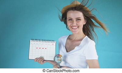 Young Woman with Globe and Calendar