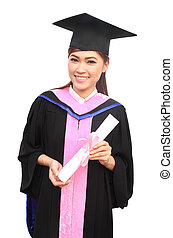 young woman with graduation cap and gown with arm raised holding diploma