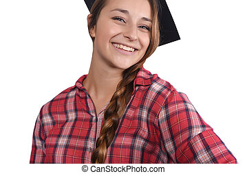 49d64082519 young woman with graduation cap and gown with arm raised holding diploma