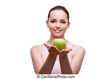 Young woman with green apple isolated on white