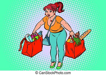 Young woman with grocery shopping