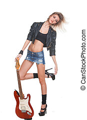 Young woman with guitar on white background