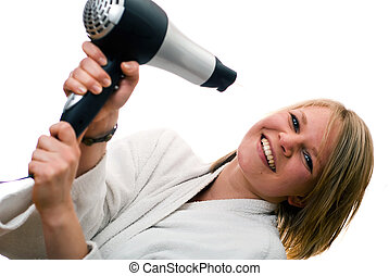 young woman with hair dryer V3