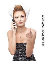 young woman with hair on rollers, talking on the phone