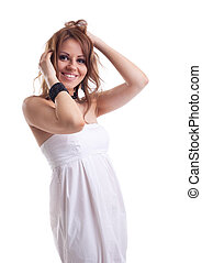 young woman with hair smile in white cloth