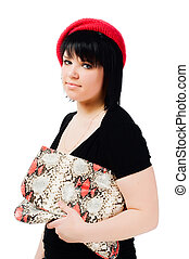 Young woman with handbag on white background