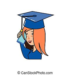 young woman with hat graduation and smartphone