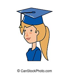 young woman with hat graduation