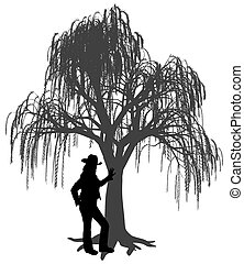 Young woman with hat leaning against a weeping willow tree
