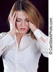 Young woman with head ache