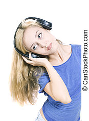 young woman with headphones isolated