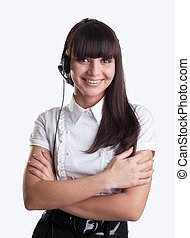 Young woman with headset friendly smile