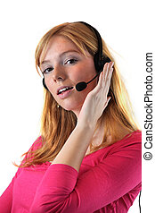 Young woman with headset