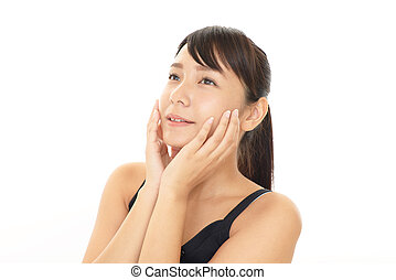 Young woman with health skin of face