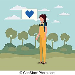 young woman with heart in speech bubble on the camp