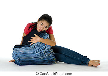 young woman with her jeans collection