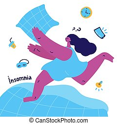 young woman with insomnia catches a pillow