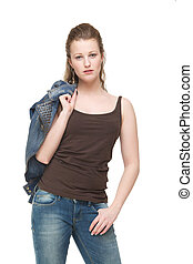 Young Woman with Jeans Jacket over Shoulder