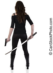 Young woman with katana - Sexy woman ready to fight on a ...