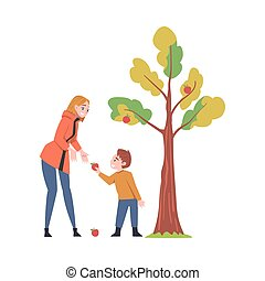 Young Woman with Kid Picking Apples from Fruit Tree Vector Illustration