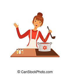 Young woman with ladle cooking soup, housewife girl in the kitchen flat vector Illustration