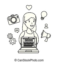 young woman with laptop and business icons