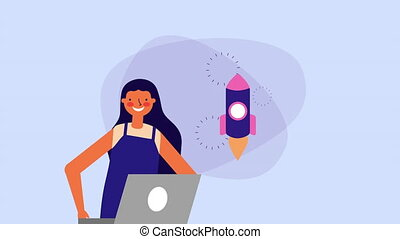 young woman with laptop and rocket ,hd video animation